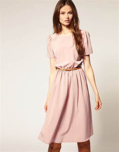 asos soft skirt midi dress with sleeves in pink