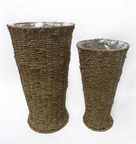 Seagrass Vase by Set Of 2 Seagrass Baskets Vase Home Decoration
