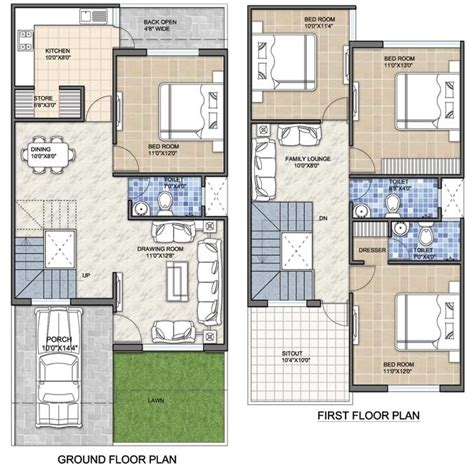 440 Square Feet Apartment by 20 X 60 House Plan India Plans 30 40 Vastu A1 First