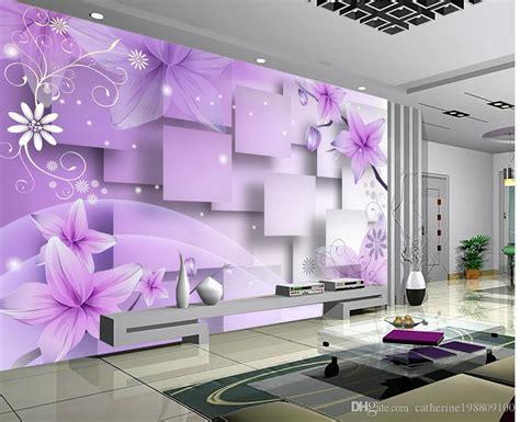 photo customize size  purple warm flowers tv wall mural