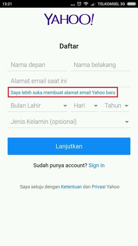 membuat yahoo mail lewat hp cara membuat email yahoo baru lewat hp android langkah