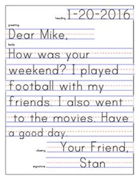 Closing Letter To Friend Friendly Letter Template And Exle Friendly Letter Kindergarten And Letters