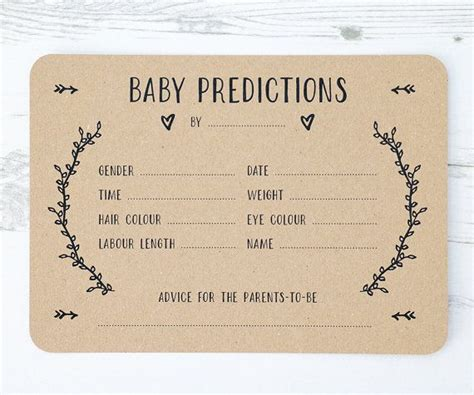 Team Prediction Card Template a beautiful set of gender neutral baby prediction cards