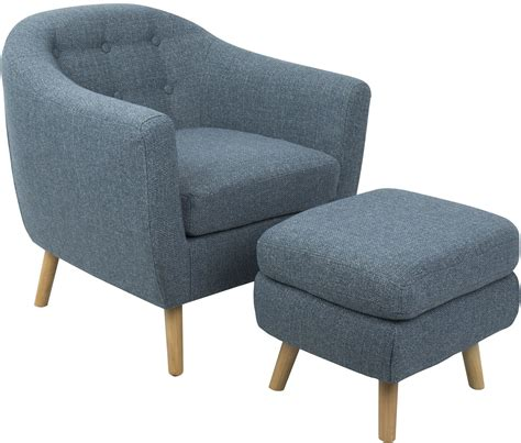 blue accent chair with ottoman rockwell blue accent chair and ottoman from lumisource
