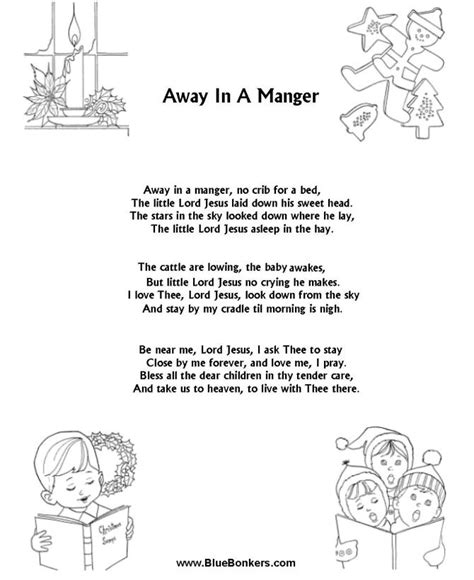 printable lyrics for away in a manger 17 best ideas about weihnachtslieder kindergarten on