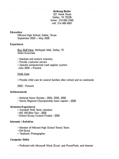 exle of a resume for high school student high school student resume exle