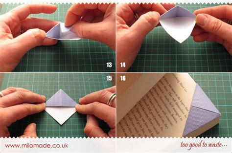 How To Make An Origami Corner Bookmark - recycled origami bookmarks milomade