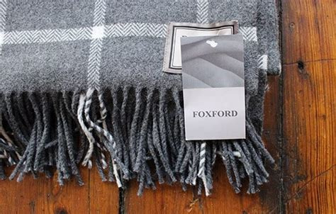 foxford white  grey large check throw warings store