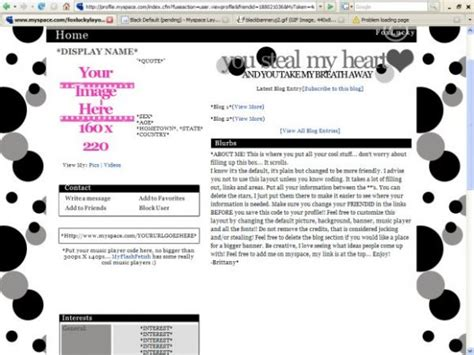Myspace Search For Without Logging In Black Default Myspace Layouts Createblog