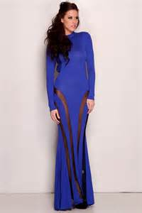 royal blue long sleeve open back mesh maxi dress