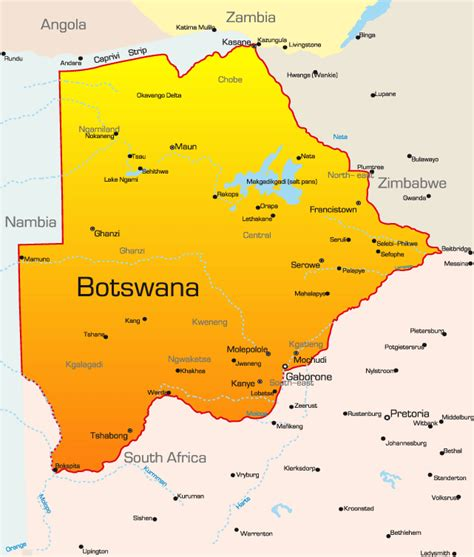 botswana map botswana map showing attractions accommodation