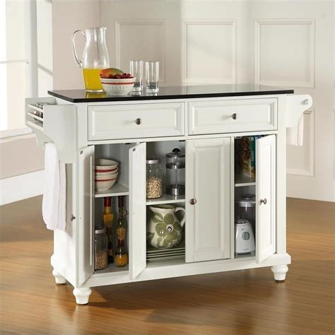 white kitchen island with black granite top crosley furniture cambridge solid black granite top
