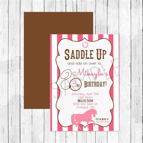 personalized birthday invitations horse by littlebeaneboutique cowgirl horse theme party personalized birthday invitation