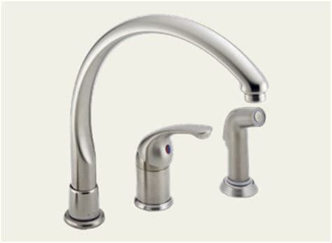 delta waterfall kitchen faucet dirtcheapfaucets delta 172 sswf waterfall single handle kitchen faucet with matching side