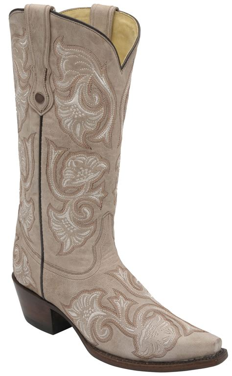 Handmade Womens Boots - corral s handmade boots bone floral stitching wood s
