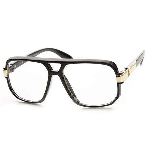 classic square frame plastic clear lens aviator glasses