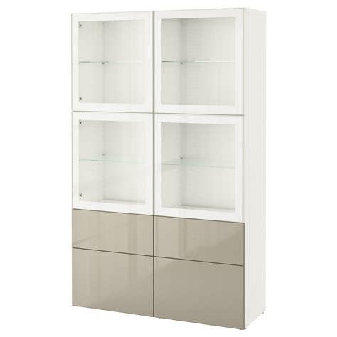 Besta Beige by Best 197 Storage Combination W Glass Doors White Selsviken
