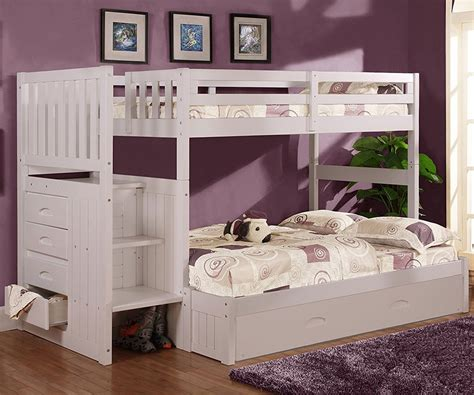 white bunk bed twin over full cambridge twin over full stair stepper bunk bed white