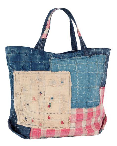 Dahana Sashiko Tote Bag kapital kountry boro tote bag big boro sashiko quilted bag one snap button closure