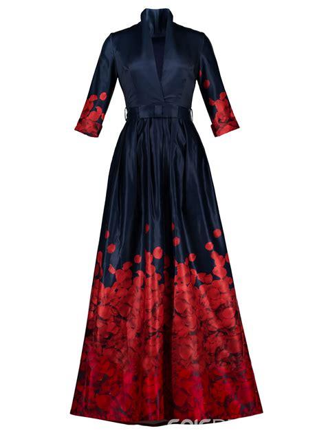 Dress Fashion To ericdress v neck belt ankle length print maxi dress