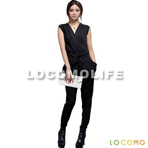 19216 Black V Neck Overall black v neck sleeveless overall jumpsuit baggy xl