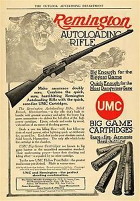 1910 ad remington autoloading rifle cougar game hunting