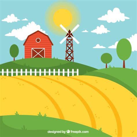 il fienile floresta paesaggio di fattoria con fienile rosso in un giorno sanny