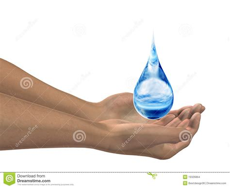 High Resolution Water Drop In Hands Stock Illustration