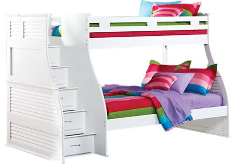 rooms to go storage bed belmar white 4 pc twin full step storage bunk bed bunk