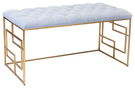 worlds away bench worlds away devin gold leafed bench lavender tufted top
