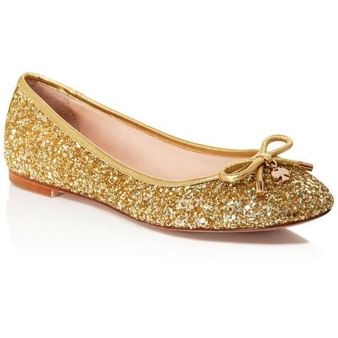 Sepatu Flat Shoes List Gold kate spade new york willa glitter bow ballet flats 198 liked on polyvore featuring shoes