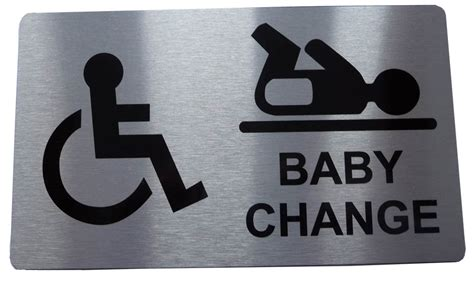 White And Gold Bathroom Accessories - disabled and baby change sign toilet door sign metal graphix amp signs