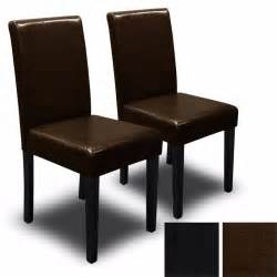 Dining Room Chairs Black Set Of 2 Black Brown Elegant Design Pu Leather
