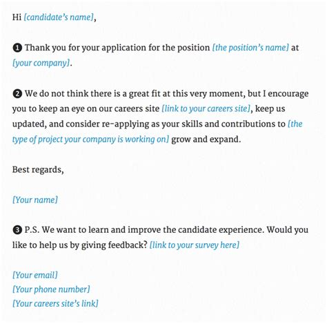 what is the best applicant rejection email for a recruiter