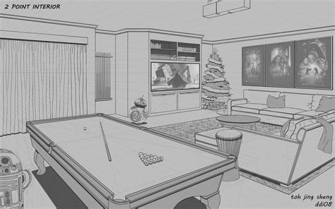 2 Point Perspective Interior Room 2 point perspective of interior living room by