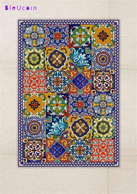 alfombra mexicana floor vinyl rug mexican talavera style mexicanos pisos