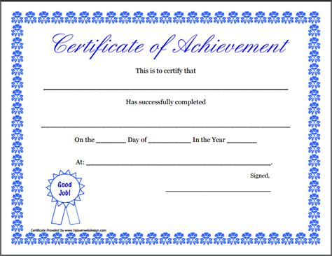 certificates of achievement templates word certificate of achievement template free sle templates