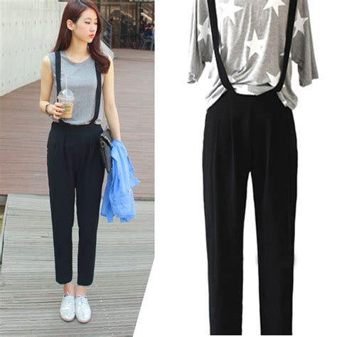 Hq 17529 Overall Trousers Black s cotton blends casual bib overalls high