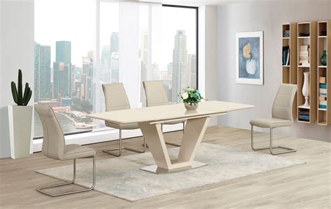 Cream Extending Glass High Gloss Dining Table And 8 Taupe High Gloss Dining Table Sets