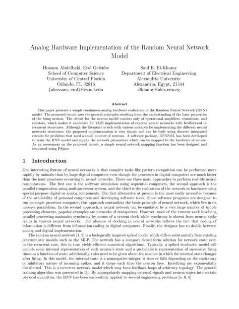 research paper on neural network pdf analog hardware implementation of the random neural