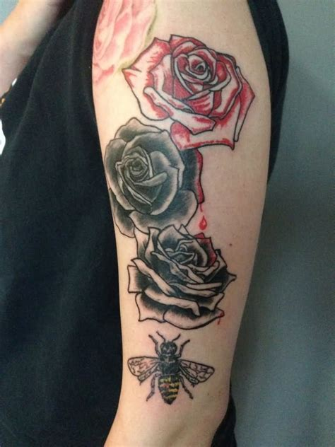 half open rose tattoo realistic 3d roses on half sleeve