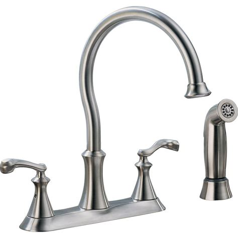 delta two handle kitchen faucet delta vessona 2 handle standard kitchen faucet with side