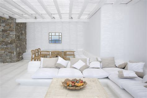 beach themed living rooms villa in mykonos