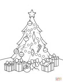 Christmas Tree With Presents Coloring Page Free Tree Coloring Pages With Presents