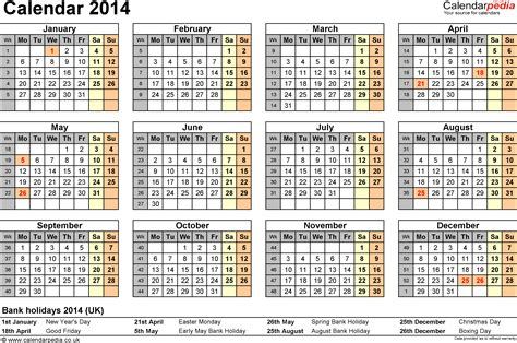 yearly calendar 2014 template calendar 2014 pdf uk 15 printable templates free