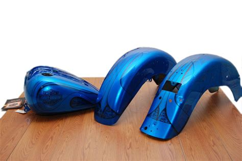 new harley flstc tank fenders blue boneyard radical paint set 95706 01bbc