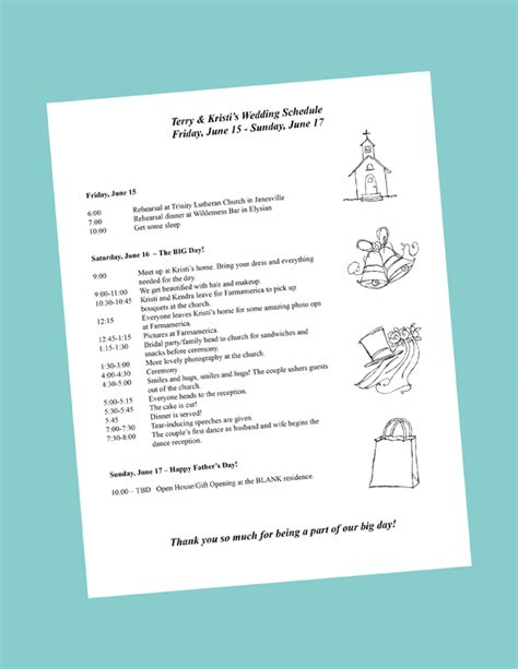 bridal shower itinerary template putting together your wedding day itinerary