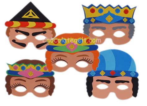 purim mask template purim character masks set of 5