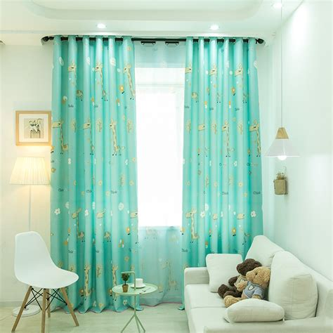 boy girl blue cartoon curtain living dining room bedroom fawn high blackout curtains curtains home garden