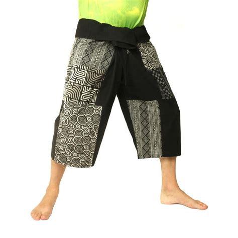 Patchwork Shorts - thai fisherman patchwork shorts black som s1